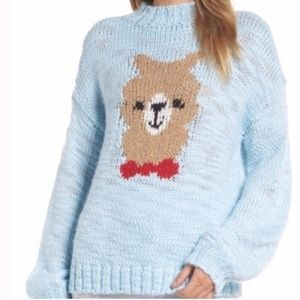 Make+Model- Light Blue Llama Sweater size XLARGE